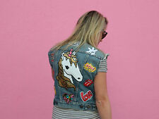Levi's Vintage Women's Customized Jean Vest with Patches, Unicorn Denim Vest