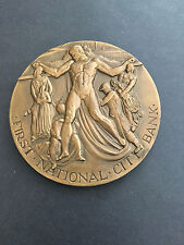 """FIRST NATIONAL CITY BANK 1812 - 1962 LARGE (3"""") BRONZE ART DECO MEDAL NEW YORK"""