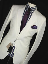 BNWT MENS PAUL SMITH LONDON WHITE LINEN & COTTON TAILOR-MADE SLIM SUIT 42R W36