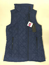 NWT Womens ANDREW MARC Quilted Vest BLUEBERRY BLUE Oversized Collar Size XL