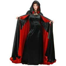"Reversible Black & Red Velvet Cloak Adult 65"" Hooded Cape Costume Accessory"