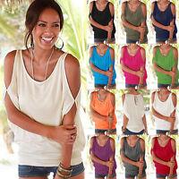 Womens Open Sleeve 11 Colors New Tee Shirt Summer Top Blouse Crew Neck T-Shirt