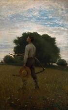 Oil painting Song of the Lark Winslow_Homer young man in field landscape canvas
