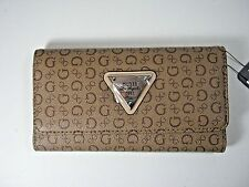 GUESS Women's BURBANK SLG Trifold Clutch Wallet MOCHA New NWT