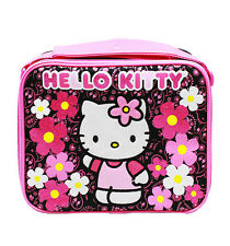 "Sanrio Hello Kitty Fullbody Shine Flowers  9.5"" Canvas Black Grils Lunch Bag/Box"
