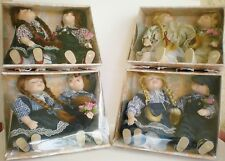 (4) Sets Of Twin Boy n Girl Sitting Porcelain Soft Body Dolls By T.S. Creations