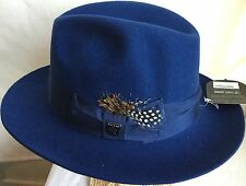 STACY ADAMS CANNERY ROW FEDORA XL WOOL HAT 7 5/8 BLUE
