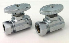 PLUMBING PAIR CHROME SHUT OFF SUPPLY STOP  VALVES FOR CLAWFOOT TUB ON LEGS NEW!