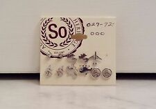 Silver Tone Assorted 5 Pairs Of Stud Earrings And 1 Single Stud Earring