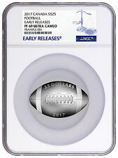 2017 Canada $25 1 Oz Proof Silver Football-Shaped Coin NGC PF69 ER SKU43975