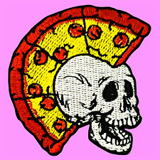 Pizza Mohawk On Skull Punk Rock Music Death Band Iron On Embroidered Patch