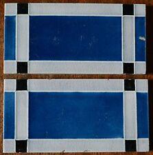 2 ANTIQUE ART NOUVEAU MAJOLICA BORDER TILE C1900