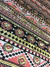 3.0M - Polyester Gold Foil Aztec Tribal Jersey Stretch Fabric Material [737]