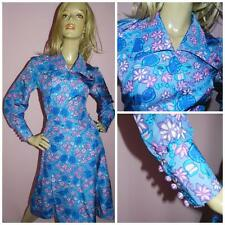 60s BLUE/PINK FLOWER POWER KITSCH DOLLY MOD SCOOTER DRESS 10 1960s MODETTE