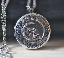 Antique silver angel fairy maiden fairy tale locket necklace personalized  L057