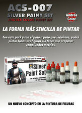 Andrea Miniatures Silver Acrylic Paint Set 6 Bottles
