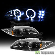 Black 95-99 Chevy Cavalier Dual Halo Projector Led Headlights Lights Left+Right