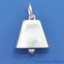 MOVABLE COWBELL COWBOY 3D .925 Sterling Silver Charm COW BELL MADE IN USA
