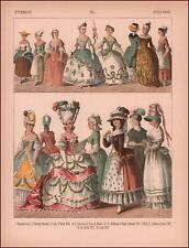 FRENCH WOMENS DRESSES 1750-1800, COUNTRY WOMAN TO LADY OF RANK, chromo 1882