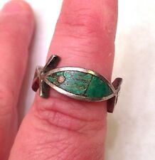 Vintage Sterling Silver Green Turquoise Ouroboros FISH Ring- Mexico- Signed