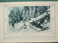 1915 WWI WW1 PRINT ~ WINTER SKIRMISH BETWEEN CHASSEURS ALPINS & JAGERS ALSACE