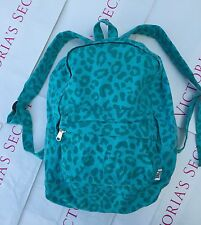 NWT VICTORIA SECRET PINK Turquoise Logo Canvas Backpack Book Bag School Travel