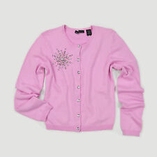 New VICTORIA'S SECRET Luxe Crystals Silk Blend Knit Cardigan Sweater Small Pink