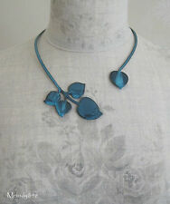 PILGRIM Wrap Collar Necklace Vintage PATINA Heart Leaf Fired Blue Enamel BNWT
