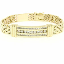 "Men's 14K Yellow Gold 8.5"" 2.90ctw Round Brilliant Diamond 3 Channel Bracelet"