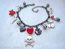 Tatuajes Amor Negro encanto pulsera corazón rojo Skull Rose Premium Dados Estrella Golondrina