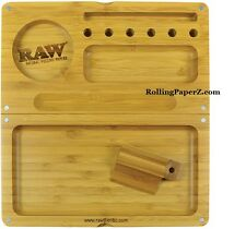 New RAW Rolling Papers Wooden Bamboo BACKFLIP Magnetic Rolling Tray Stash Box