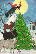 LE #2 4X6 POSTCARD RYTA CHRISTMAS TREE WINTER SCOTTY MOUSE CAT RABBIT LAMB CROW