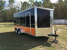 7x16 2' Slanted V Enclosed Cargo Motorcycle Trailer free Harley Davidson Decals