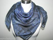 """VERSACE ANIMAL PRINT 100% SILK SQUARE 34"""" X 34"""" BLUE SCARF made in Italy"""