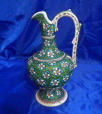 "Vtg COLLECTIBLE HAND PAINTED CERAMIC GREEN FLORAL 12-3/8"" EWER PITCHER"