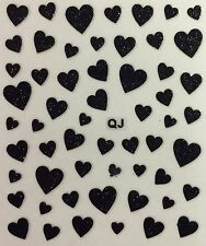 Nail Art 3D Decal Stickers Black Glittery Hearts Valentine's Day