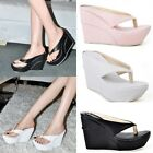 Fashion Womens High Heels Slides Beach Flip Flops Platform Wedge Thong Sandals