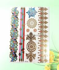 US Seller- mandala boho armband bracelet metallic flash tattoo temporary tatoos