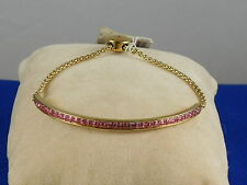 Michael Kors Gold Stainless BRILLIANCE Pink Crystal Bar Pully Bracelet MKJ4130