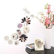 12 un. 3d Espejo Adhesivo Calcomanía Pared Nevera Flores Pegatina Decoración de pared