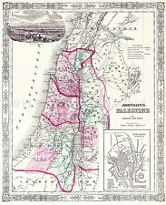 Carte antique 1864 Johnson Palestine Jérusalem grand imprimé Poster réplique pam0337