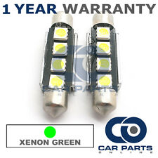 2X GREEN CANBUS NUMBER PLATE INTERIOR 4 SUPER BRIGHT SMD LED BULBS 44MM 10GX2
