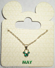 Disney Parks Goldtone Birthstone Necklace - Mickey Mouse: May (Green Emerald)