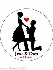 Personalised Engagement Romantic Proposal Silhouette Edible Cake Topper Round
