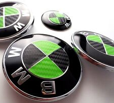 BLACK & GREEN CARBON FIBER Complete Set Vinyl Sticker Overlay All BMW Emblems
