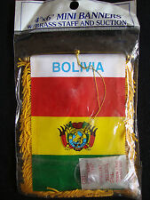 "NEW Bolivia Flag Mini Banner 4"" x 6"" w/ Suction Car Window Red Green Yellow Trim"
