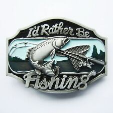 BRAND NEW I'D RATHER BE FISHING SPORT BASS BELT BUCKLE