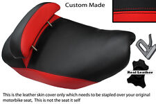 BRIGHT RED & BLACK CUSTOM FITS PIAGGIO HEXAGON 125 DUAL LEATHER SEAT COVER