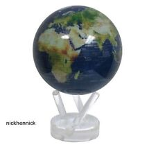 Solar Powered World Globe 4.5 Atlas MOVA Rotating Satellite Map w Gold Lettering