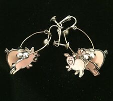 Vintage Signed Edgar Berebi Three Little Pigs Enamel Screw Back Hoop Earrings